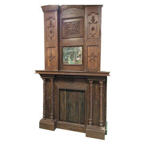 Mogul Interior - Consigned Fireplace Mantel, 2 Pc Old Wood British Colonial Handcarved - Fireplace is truly what India architecture is all about and is an great example of the ancient & old indian art of carving