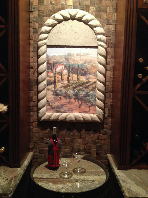 Tuscan Marble Tile Mural For Arched Niche Area In Wine Cellar
