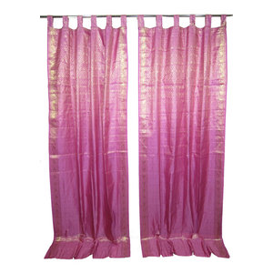Mogulinterior - 2 Indian Sari Curtains Lavender Pink Gold Brocade Silk Saree Drapes Window Panel - Brocade SARI Silk Blend