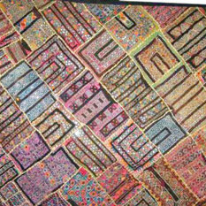 Mogul Interior - Consigned Kuch Embriodry Wall Hanging Bedroom Decor Boho Gypsy Throw - This Is tapestry presents ethnic handicrafts handmade tapestry wall decorative embroidery KUTCH banjara throw.