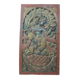 Mogul Interior - Indian Inspired Art Vintage Hand Carved Wood Dancing Krishna Wall Hanging - Hand carved wall panels of Krishna dancing under the Kadambari tree on the double lotus flower base from India.