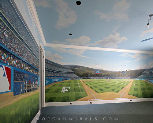 Baseball wall mural of dodgers stadium for Baseball field wall mural