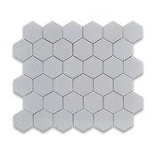 """10.75""""x11.875"""" Thassos White Hexagon Mosaic Tile Polished, Chip Size 2"""""""