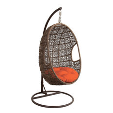 hanover outdoor furniture hanging wicker pod swing chair. Black Bedroom Furniture Sets. Home Design Ideas