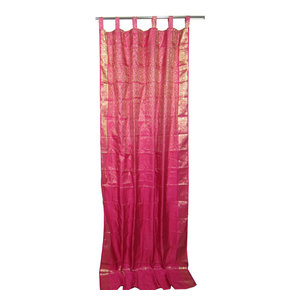 Mogul Interior - India Sari Curtains Window Panels Pink Brocade Silk Saree Indian Drapes, Morroca - Brocade SARI Silk blends
