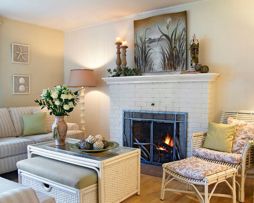 beach style brick fireplace home design photos decor ideas
