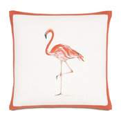 Summer Fun Hand-Painted Pink Flamingo Pillow
