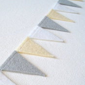 Gray White Pale Yellow Pennant Banner Garland by Live Delightfully