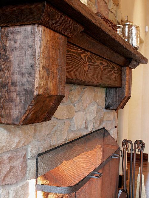 Railroad Tie Mantle Home Design Ideas Pictures Remodel