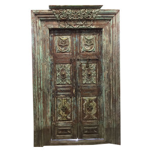 Mogul Interior - Consigned Om door Double Doors & Frame Antique Architecturals Yoga Decor doors - The door comes from India and are a 18 century vintage pieces.