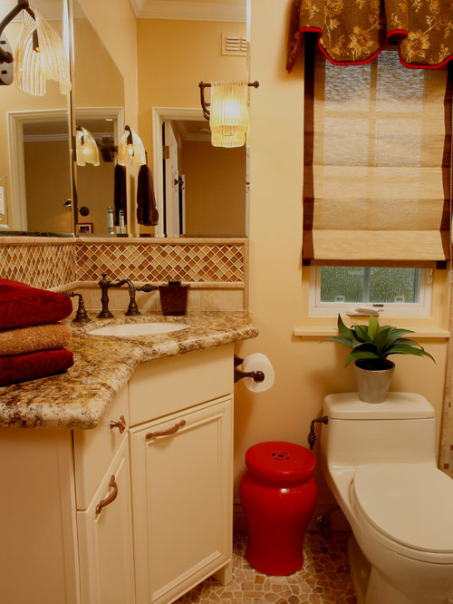 Bathroom design ideas renovations photos with red tile and yellow walls - Red and yellow bathroom ideas ...