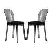Leisuremod Goshen Transparent Black Plastic Dining Chairs, Set of 2
