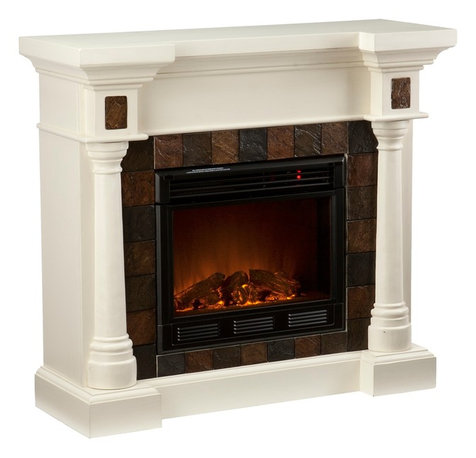 Corner fireplaces houzz - Space saving corner electric fireplace providing warmth for your small space ...