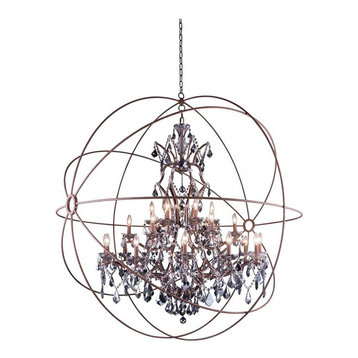 Geneva 6 Light Rustic Intent Pendant Chandelier Clear Crystal