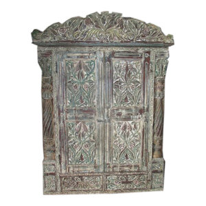 Mogul Interior - Jharokha Door Antique Style Frame Rustic Terrace Window Hand Carved Distressed - The window jharokha comes from India and are a 18/19 century vintage pieces.