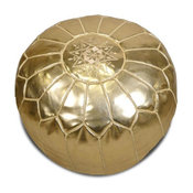 Moroccan Pouf, Metallic Gold