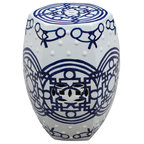 Blue Amp White Hex Fire Ball Dragon Garden Stool Asian