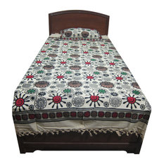 Mogul Interior - Mogul Bed Cover Indian Inspired Print 100% Cotton Bedspread Twin Size - Blankets