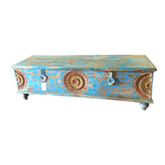 Mogul Interior - Consigned Reclaimed Wood Blue Trunk Coffee Table - A stunning blue painted wood pitara trunk that promises to take your room.