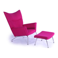 Kardiel Modern Wing Chair And Ottoman Pom Fusion Boucle