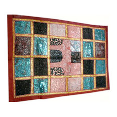 Mogul Interior - Sari Tapestry Exotic Raspberry Patchwork Beaded Tapestry - This exquisite work of handmade Indian textile art is covered with intricate sequins.