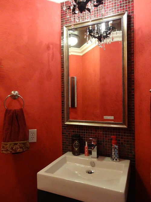 Bathroom design ideas renovations photos with brown for Brown and red bathroom ideas