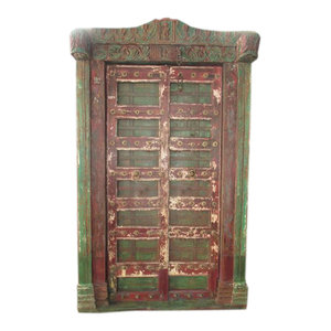 Mogul Interior - Krishna Door Hand Carved Reclaimed Antique Style Teak Doors & Arch Frame India - The door comes from India and are a  19 century vintage pieces.Red and green hues with the carving of Krishna who symbolizes love.