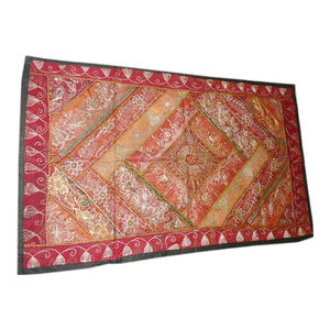 Mogul Interior - Black Wall Tapestry Sequin Embroidery Sari Throw - Excellent hand made tapestry with mirror embroidery gives a special touch to your home.