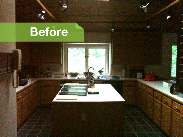 BEFORE: The original kitchen was dated, dark and cramped, and it wasn