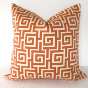 Greek Key Indoor / Outdoor Pillow Cover In Persimmon By Loubella1