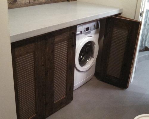 hauswirtschaftsraum mit waschmaschinenschrank und. Black Bedroom Furniture Sets. Home Design Ideas