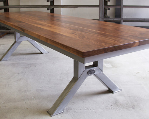 Engineering table model 3 oak and polished steel for Domesticated engineer table