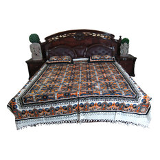Mogul Interior - Authentic Handloom Galicha Cotton Bedspreads Boho Style Pillows Covers Authentic - Blankets