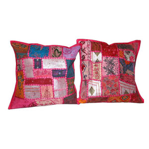 Mogul Interior - Cushion Covers  Patchwork Embroidered Throw Pillow Covers, Set of 2 - Add a splash of ethnic ambiance to any room, with our range of beautifully embellished Decorative Cushion Covers.Wall Hanging tapestry,patchwork toss pillow shams are great as gifts as well.