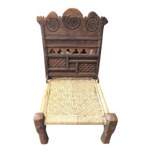 Mogul Interior - Consigned Tribal Rope Chair Rajasthani Chakra Rustic Reclaimed Wood - Indian home Furniture Beautiful chakra carving wooden chairs,living room chair,solid wood dining chairs a cozy piece of outdoor furniture, a comfortable rest upon for enjoying your outdoor spaces.