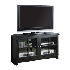 Monarch Specialties - Monarch Specialties 48 Inch Corner TV Console in Black - This corner TV ...