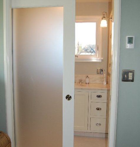 Frosted bathroom door home design ideas pictures remodel for Solid glass shower doors