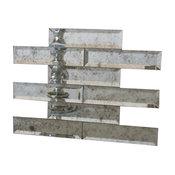 "2""x8"" Beveled Edge Mirror Tile, Set Of 4 Sq Ft, Antique"