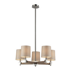 Jorgenson 5-Light Chandelier In Taupe Wood And Polished Nickel