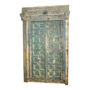 Mogul Interior - Antique Style Indian Blue Jaipur Double Door with Frame Hand Carved - The door comes from India and are a   19 century vintage pieces.