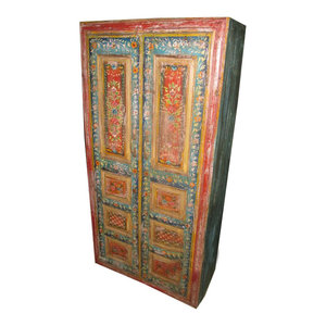 Mogul Interior - Antique Armoire Cabinet Red Blue Floral Design Indian Furniture - The cabinet comes from India and is a 19 century vintage cabinet with beautiful painted Indian motifs in great condition