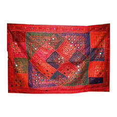 Mogul Interior - Indian Wall Hangings Sequin Embroidery Red Tapestry - This gorgeous wall hanging tapestry has red color.