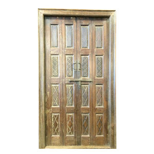 Mogul Interior - Consigned Indian Door Hand Carved Teak Rustic Wood Double Doors Yoga Decor - Rich with history and detail these set of doors will accent beautifully any room.