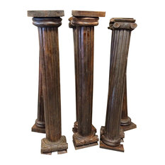 Mogul Interior - Consigned Columns Pair Pilasters Reclaimed Woods Architectural Pillar Columns - Columns And Capitals
