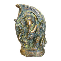 Mogul Interior - Ganesha Statue Dancing Ganesh In Conch Handmade Brass Sculpture From India - Decorative Objects And Figurines