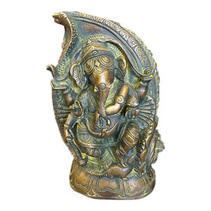 Mogul Interior - Ganesha Statue Dancing Ganesh In Conch Handmade Brass Sculpture From India - Sri Ganesha Statue Seated Hindu God Brass Sculpture From India.