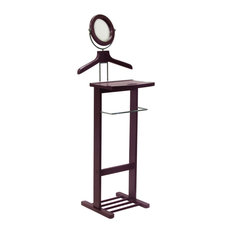 Winsome Wood - Valet Stand With Mirror, Open Base - This dresser valet stand can accommodate a shirt, jacket, trousers, and a pair of shoes. The This valet features a trouser rack for his pants, a tray for jewelry, keys, or a wallet. The tilt mirror is perfect for a quick morning brush up and the base holds a pair of shoes.