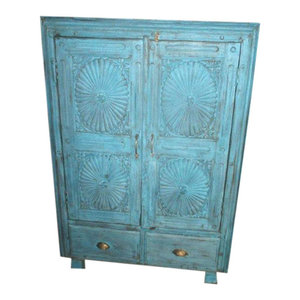 Mogul Interior - Consigned Antique Armoire Chakra Rustic Carved Blue Patina Cabinet - The cabinet comes from India and is a 19th century vintage piece IN SUPER CONDITION