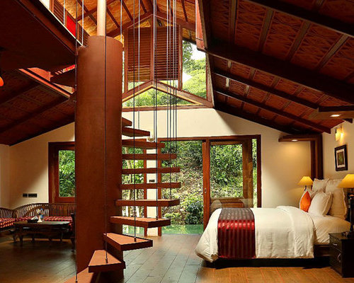 red bedroom design ideas renovations photos with bamboo flooring