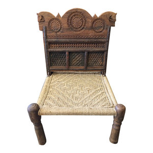 Mogul Interior - Consigned Indian Tribal Rope Chairs Rajasthani Solid Rustic Chairs Wood Carving - * Indian home Furniture Beautiful horse head carving wooden chairs,living room chair,solid wood dining chairs a cozy piece of outdoor furniture, a comfortable rest upon for enjoying your outdoor spaces.